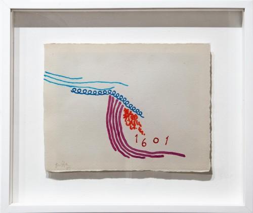 "<span class=""nome_artista"">Giorgio Griffa <p class=""nome_opera"">Tre linee acquarello 1601</p> <p>1995</p> <p class=""info_opera"">Acquerello su carta a mano</p> <p>25x32cm</p></span>"