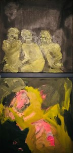 "<span class=""nome_artista"">Andreas Waldmeier<p class=""nome_opera"">Waisen+Figur e Pink Grün</p><p class=""info_opera"">olio su lino <br>2018, 40x40 cm + 40x40 cm"