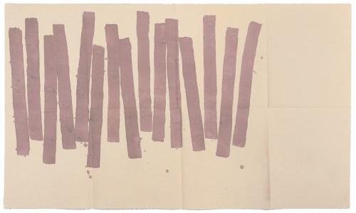 """<span class=""""nome_artista""""> Giorgio Griffa <p class=""""nome_opera"""">Quasi verticale 1978 </p><p class=""""info_opera"""">acrilico su tela<br> cm 75x128</p></span>"""