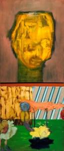 "<span class=""nome_artista"">Andreas Waldmeier<p class=""nome_opera"">One Line Laurien abgeklebt e 2 vierecke Flecken Figuren</p><p class=""info_opera"">olio su lino <br>2018, 50x40 cm, 40x40 cm"