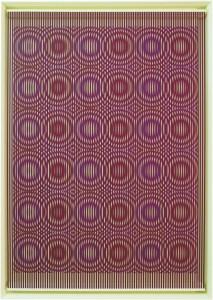 """<span class=""""nome_artista"""">Alberto Biasi<p class=""""nome_opera"""">RED RAIN</p><p class=""""info_opera"""">rilievo in pvc su tavola<br>2014, cm 144 x 100 x 4</p></span>"""