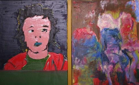 "<span class=""nome_artista"">Andreas Waldmeier<p class=""nome_opera"">Portrait gespachtelt e Figuren wie Hühner auf der Stange</p><p class=""info_opera"">olio su lino <br>2018, 50x40 cm, 50x40 cm"