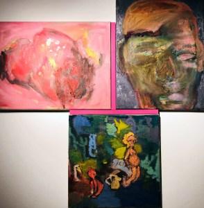"""<span class=""""nome_artista"""">Andreas Waldmeier<p class=""""nome_opera"""">Schädel e Schädel e Garten</p><p class=""""info_opera"""">olio su lino <br>2018, 40x50 cm, 50x40 cm, 40x40 cm"""