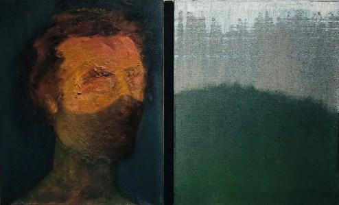"<span class=""nome_artista"">Andreas Waldmeier<p class=""nome_opera"">Selbstportrait mit Maske e Landschaft gegossen</p><p class=""info_opera"">olio su lino <br>2019, 50x40 cm, 50x40 cm"