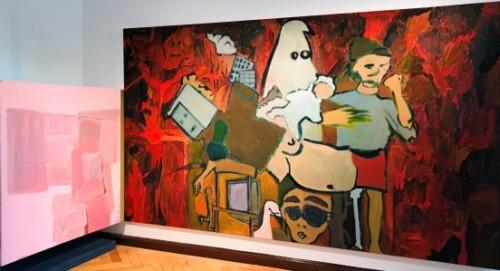 "<span class=""nome_artista"">Andreas Waldmeier<p class=""nome_opera"">Tisch Pinky Brain</p><p class=""info_opera"">olio su lino<br>2016-2019, 190x320cm + 130x130 cm"